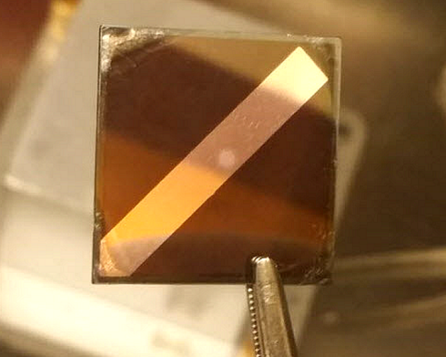 <p>The analysed perovskite cell has a surface of 1 cm<sup>2</sup>. Credit. Uni Potsdam</p>