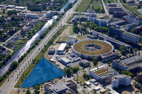 <p>The new CatLab (blue area) will be built in close proximity to BESSY II and other laboratories.</p>