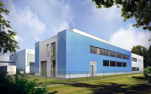 <p>This is how the extension hall will look after the scaffolding has been removed. The blue modules enclose the building like a bracket.</p>
