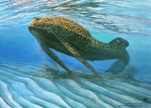 <p>An impression of the placoderm fish living 380 million years ago.</p>