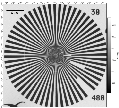 "<p class=""MsoListParagraph"">The first image taken by MYSTIIC: a standard image used to calibrate and measure the resolution of the new STXM.</p>"