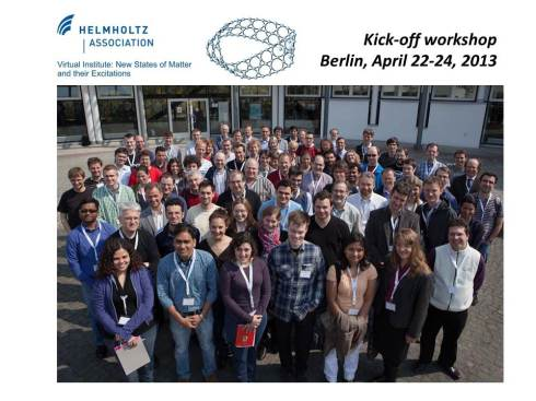 <p>Teilnehmer am Kick-off-Workshop des Helmholtz-Virtuellen-Instituts &bdquo;New states of matter and their excitations&ldquo;</p>