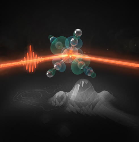 <p>An ultrashort laser pulse activates iron pentacarbonyl as a catalyst. Scientists could observe the subsequent ultrafast processes experimentally by mapping the outer orbitals with an x-ray free electron laser and interpret the obtained energy maps using quantum chemical calculations.<br />Illustration: SciStyle Thomas Splettst&ouml;&szlig;er</p>