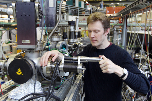 <p>Christian Stamm at BESSY II-beamline for femtoslicing</p>