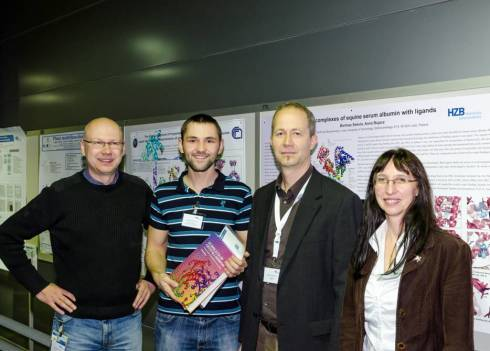 On the photo are shown from left to right <br />Manfred Weiss (HZB-MX), Bartosz Sekula (Lodz),<br /> Uwe Mueller (HZB-MX) and Anna Bujacz,<br /> Bartosz' Ph.D. supervisor.