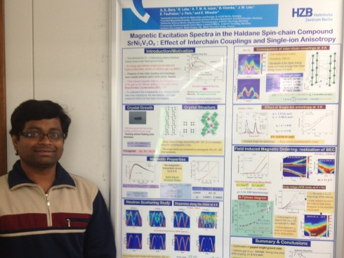 Dr. Anup Kumar Bera from the department of Quantum Phenomena in Novel Materials convinced the committee with his poster about 'Haldane chains'.