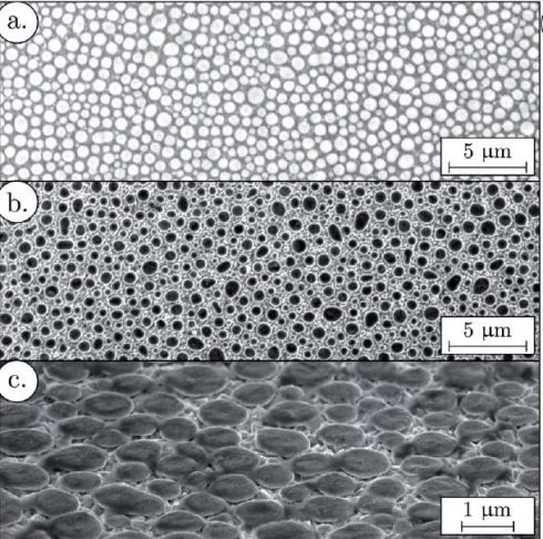<p>Ammonium tungstate/PSS film surface:  (a) SEM picture before pyrolysis; (b & c) SEM picture after pyrolysis. credit:EMPA</p>