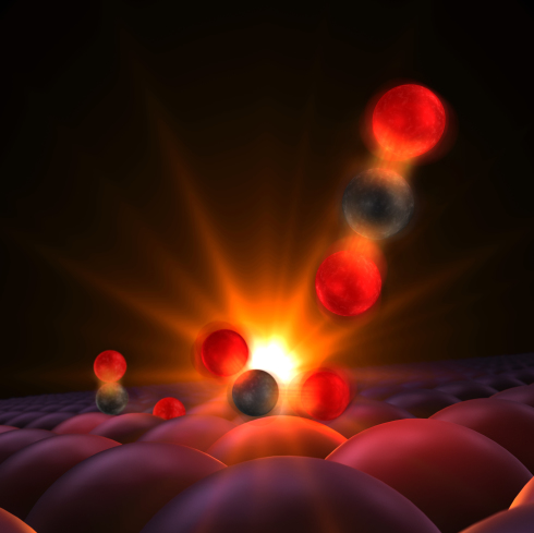 <p>This illustrates a moment captured for the first time in experiments at SLAC National Accelerator Laboratory. The CO-molecule and oxygen-atoms are attached to the surface of a ruthenium catalyst. When hit with an optical laser pulse, the reactants vibrate and bump into each other and the carbon atom forms a transitional bond with the lone oxygen center. The resulting CO<sub>2</sub> detaches and floats away. Credit: SLAC National Accelerator Laboratory</p>