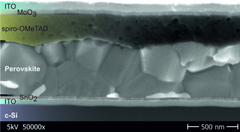 <p>A cross section through the tandem cell is shown by this SEM-image. Credit:HZB</p>