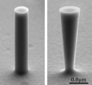 <p>Nanostructures of silicon shown in scanning electron microscope image. The diameter of the nanocolumns is 570 nm. By comparison, the nanocones taper from their upper diameter of 940 nm down to 360 nm at their base. Credit: MPL</p>