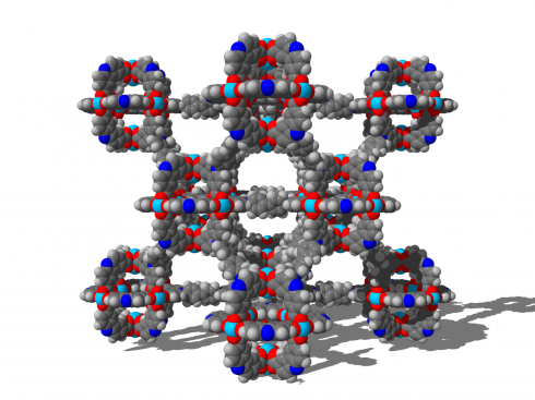 <p>The three-dimensional structural network of the ultra-porous and flexible material called DUT-49 can store large amounts of methane. © TU Dresden, Prof. AC1</p>
