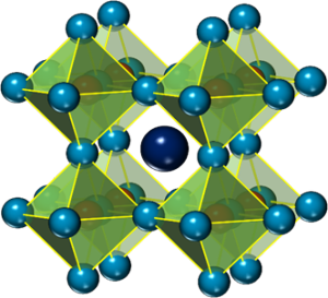 <p>BFO has a perovskite crystal structure.Credit: University of Tokyo</p>