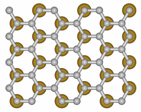<p>The model illustrates how the gold atoms sit under the graphene. Credit: HZB<br /><br /></p>