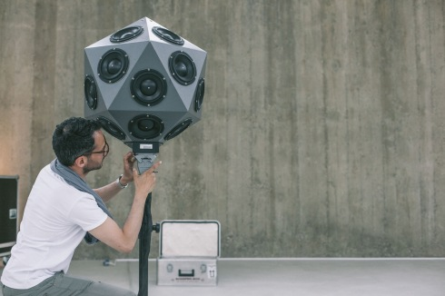 <p> Gerriet K. Sharma is setting up the icosahedral loudspeaker, photo: Kristijan Smok (izlog)</p>